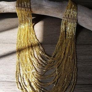 Mod Cloth gold beaded Bib necklace